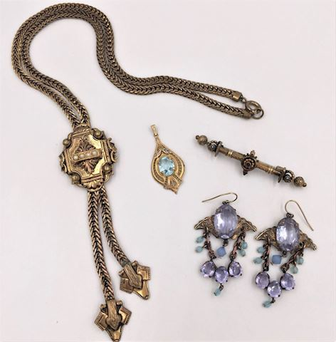 Lot of Antique Victorian Costume Jewelry