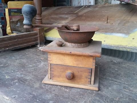 small antique coffee grinder