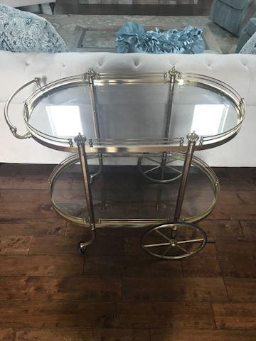 Rolling Vintage brass tea cart 2 tier glass