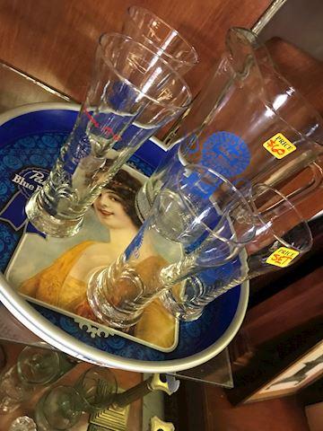 Vintage Pabst Pitcher 4 glasses & serving trey