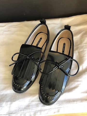 Pre-owned leather black bow loafers Zara Basic, 6
