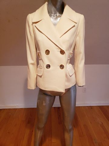 Michel Kors double breasted cream wool Peacoat