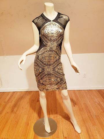Badgley Mischka Black eyes of gold sequin dress