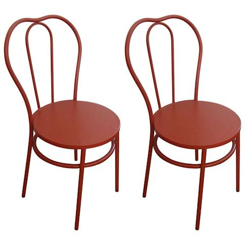 MAGNOLIA HOME RED METAL BISTRO CHAIRS CAFE CHAIRS