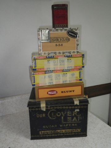 Biscuit Tin, 4 Cigar Boxes, and a Spice Tin