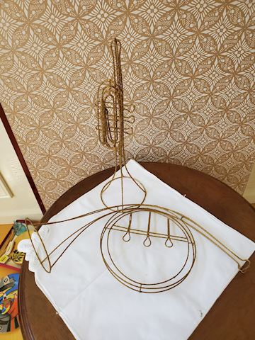 Pair of decorative gilded wire musical instruments