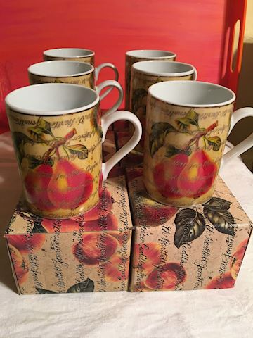 Dept 56 Set of 6 Pears & Apples Coffee Cups