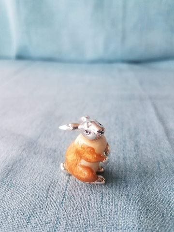 Enamel Rabbit figurine, with Sterling