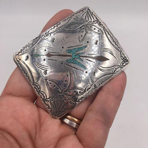Native American Sterling Silver Belt Buckle