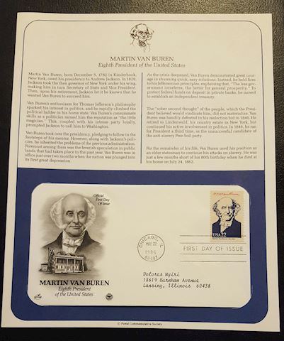 Martin Van Buren 1986 First Day Cover