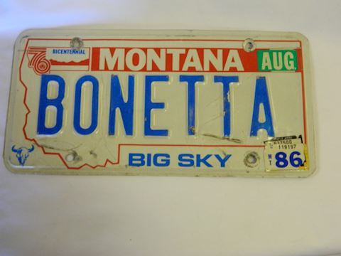1986 MT personalized License Plate