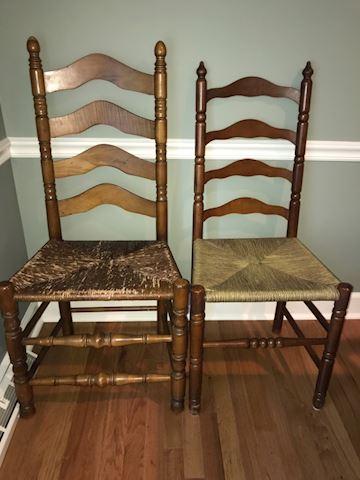 2 vintage mismatched ladder back chairs
