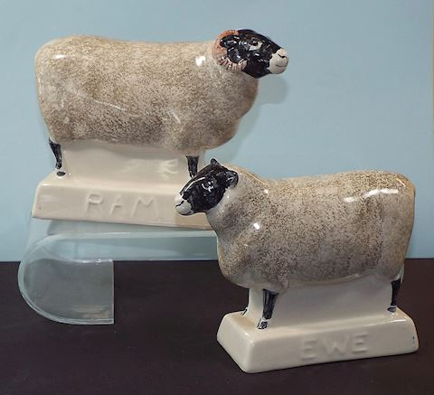 Pair of Sheep Figurines, English Rye Pottery