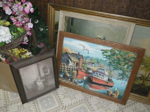 Art, Cork Board, and Faux Flowers