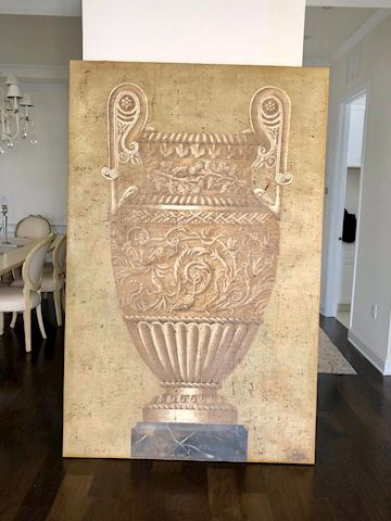 Canvas painting urn