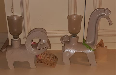 FR  309  Stoneware Candle holders by John Hanson