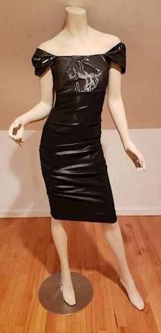 Nicole Miller Metallic ruched liquid bodycon dress