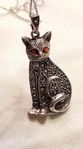 Sterling cat necklace