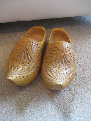 Carved Norwegian Wooden Shoes