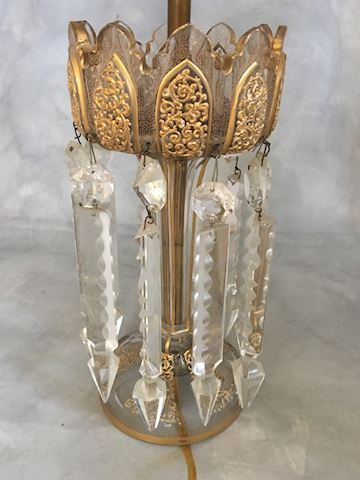 Moser Style Bohemian Gilded Glass Lamp