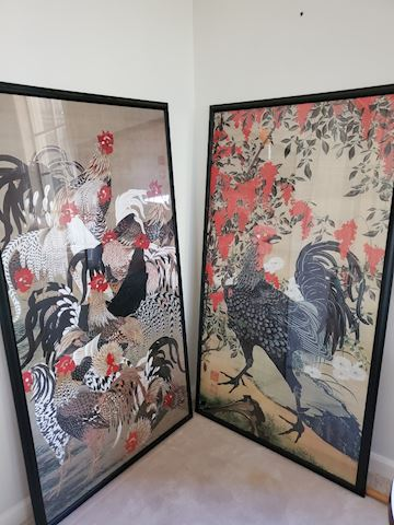 Pair of Large Chinese rooster prints