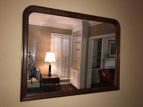 Large Heavy Antique Mirror in Walnut Frame