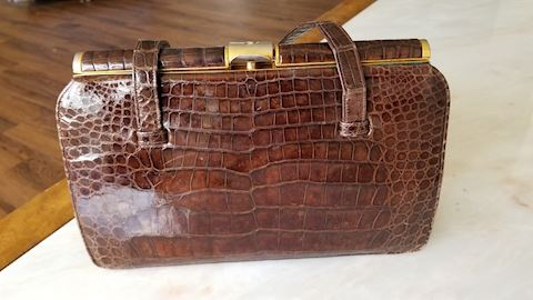 Vintage Caiman alligator handbag