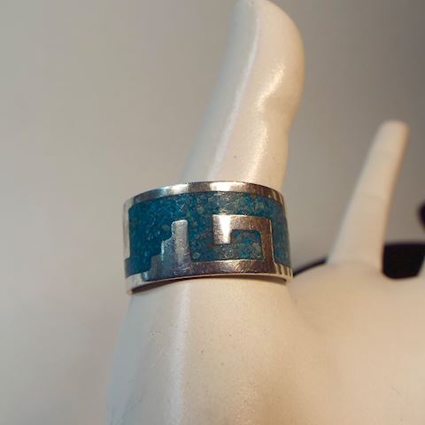 Vintage Sterling Silver & Turquoise Band Ring 10