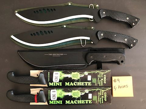 Collection of 5 Machete Knives Lot 9