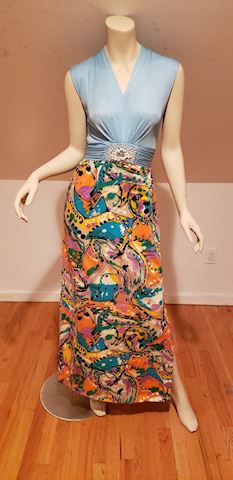 Vtg 1970's Sleeveless Jewel mod maxi dress