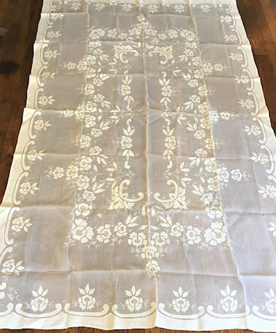 Vintage Paper Thin Appliqued Table Cloth