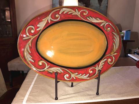 Large red & gold platter