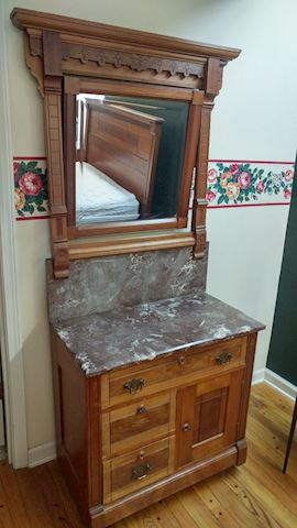 Antique Wash Stand Walnut Marble Top w/ Mirror