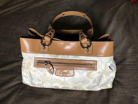 Coach Tan Leather & Khaki Satchel handbag
