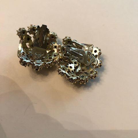 Vintage Green Rhinestone Earrings Gold Toned
