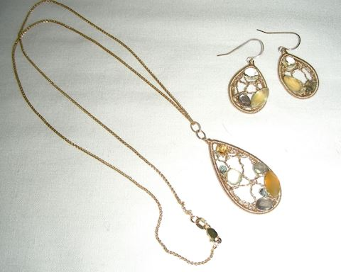 14k Dream Catcher Necklace and Earrings Set