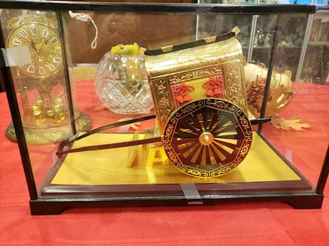 24k Gold Plate Ox Cart in display
