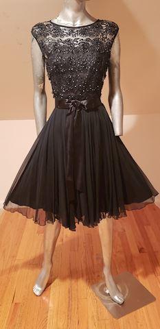 Vtg Flared beaded illusion bodice Chiffon dress