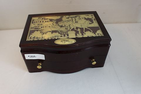 #002 Vintage Wooden Jewelry Box/Chest