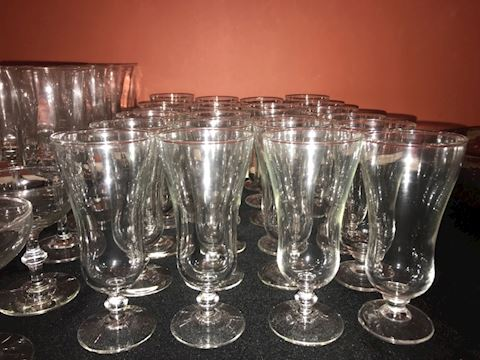 Mixed lot clear glass everyday stemware, 48 pcs.