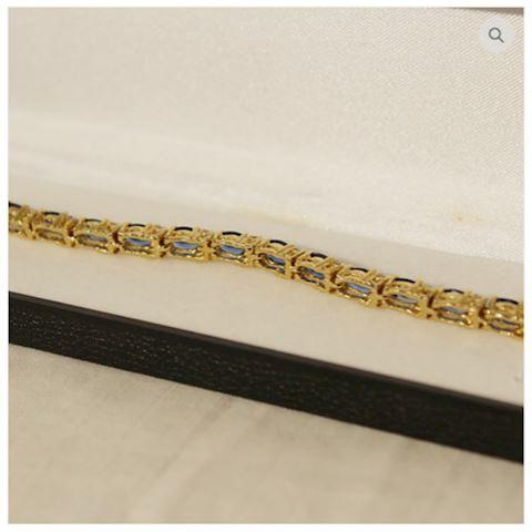 Sapphire Bracelet 14K GOLD w/ Accents