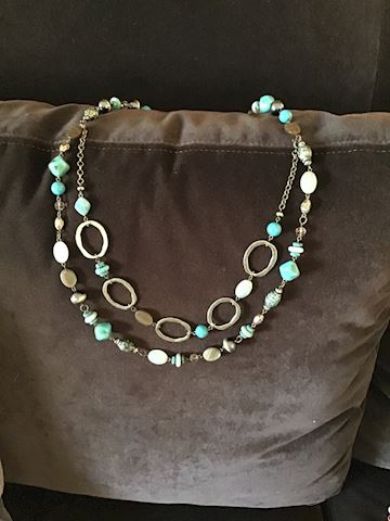 Beaded turquoise and bronze necklace