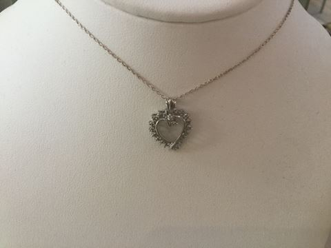 Sterling necklace diamond heart pendant 303-06