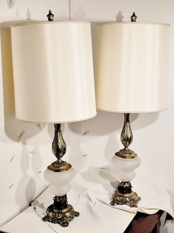 Brass Lamps w/ Frosted Glass