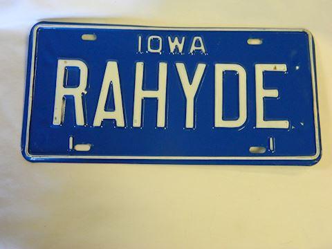 "1980s IA ""RAWHYDE"" plate"