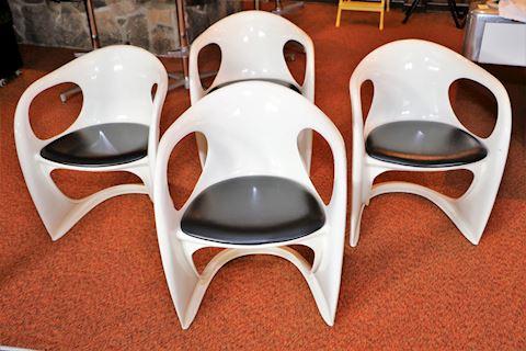 MCM Black & White Ergonomic Chairs Set of 4