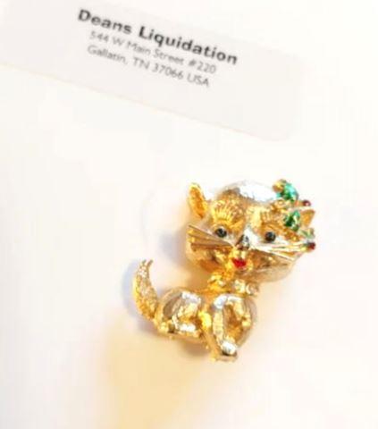 Fancy Cat 14K GOLD Brooch