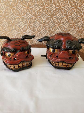 2 Japanese decorative puppet heads