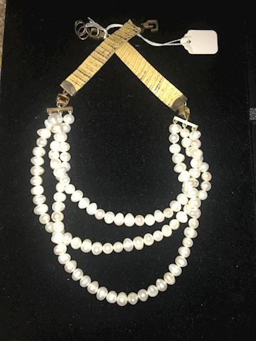 Triple Strand Chinese Fresh Water Pearl Necklace