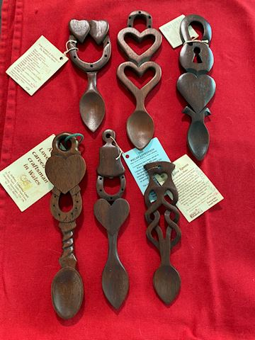 Hand-Carved Welsh Love Spoons